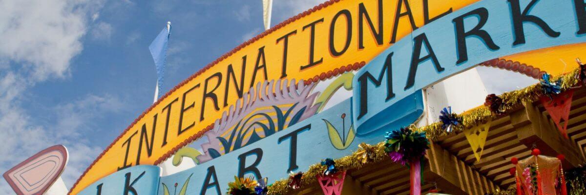 the sign for the International Folk Art Market