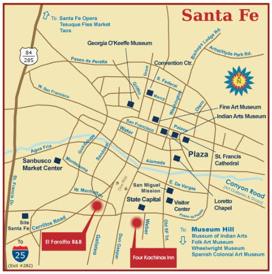 Santa Fe Bed and Breakfast | Santa Fe Lodging | El Farolito ... on scottsdale springs map, sedona map, mexico city map, independence map, boston map, new mexico map, tulsa map, montreal map, sacramento map, new orleans map, san francisco map, hollywood ca on map, philadelphia map, san antonio map, marquis los cabos map, charleston map, new england map, beckley map, st. augustine map, el paso map,